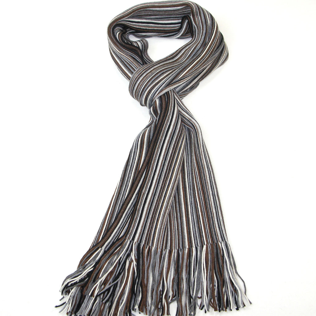 Men's Grey & Brown Merino Wool Scarf