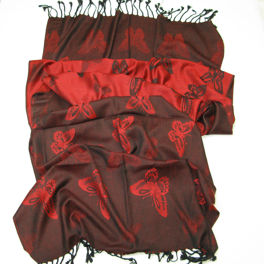 Women's Red Butterfly Shawl