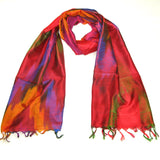 Women's Red Silk Rainbow Paisley Scarf