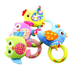 0-3 Y Baby Rattle hand Bell Toy 5 Style Owl Bird Chicken Animals Plush Happy Monkey Gift WJ290