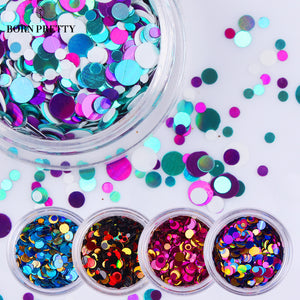 1 Box Shiny Round Ultrathin Sequins Colorful Nail Art Glitter Tips 1mm 2mm 3mm Manicure 3D Nail Decoration DIY Accessories