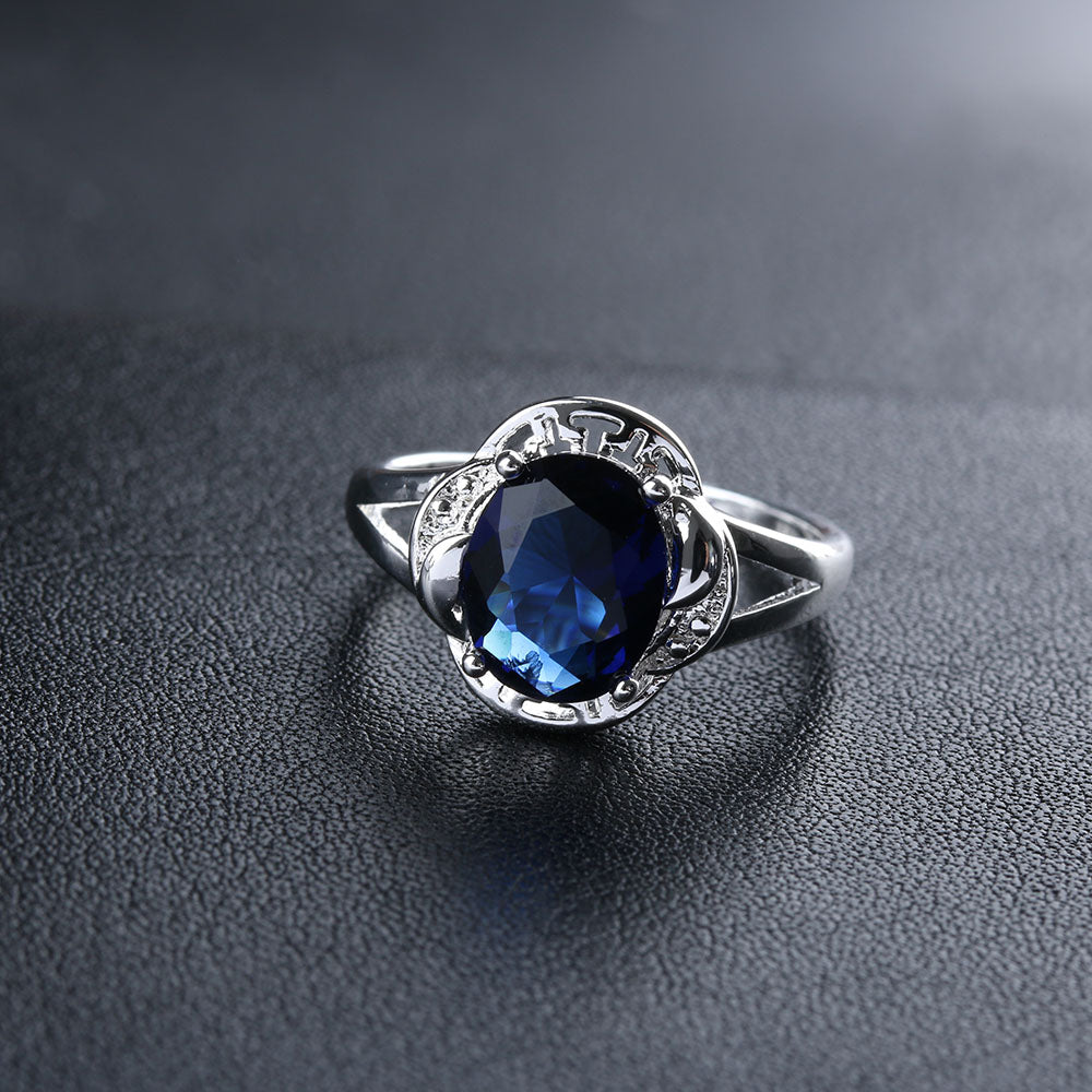 1 PC 2018 New Women Fashion Silver Plated Cut Cubic Blue Zircon Crystal Flowers Ring Size 6-9 Wedding Party Gifts
