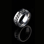 1 PC Fashion 3Colors Punk Men Metal Stainless Steel Finger Ring Rotatable Spinner Chain Silver/Black/Gold Band Rings Jewelry