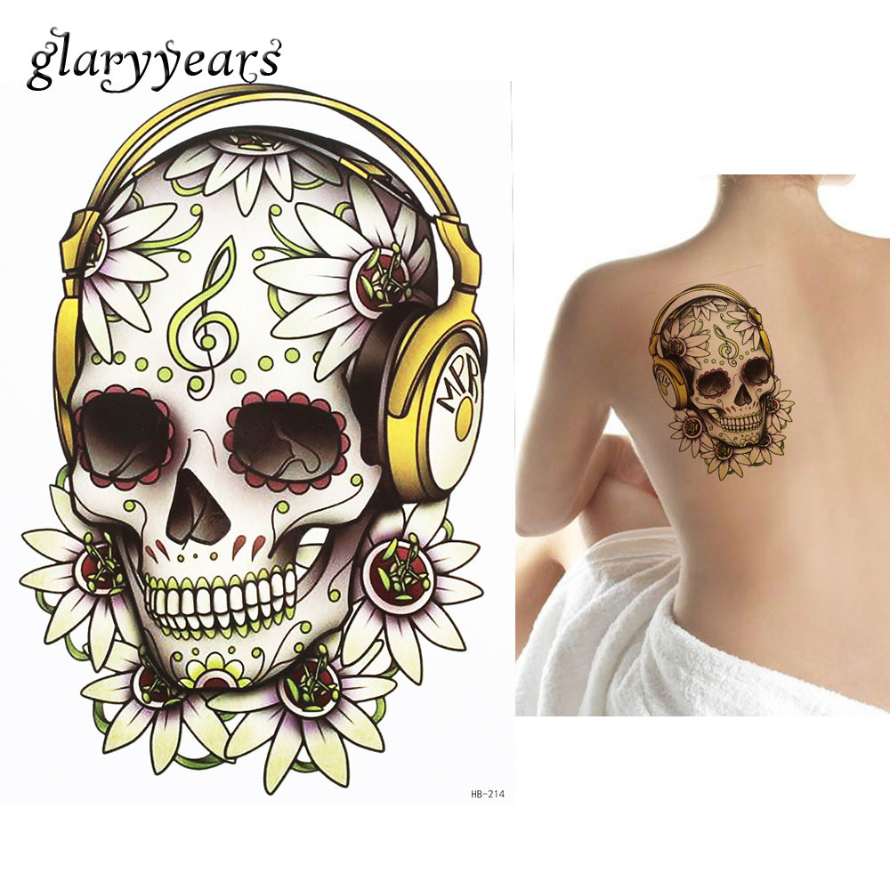 1 PC Fashion Fake DIY Decal Flower Skull Headset Music Note Picture Design HB214 Temporary Tattoo for Women Men Body Art Sticker