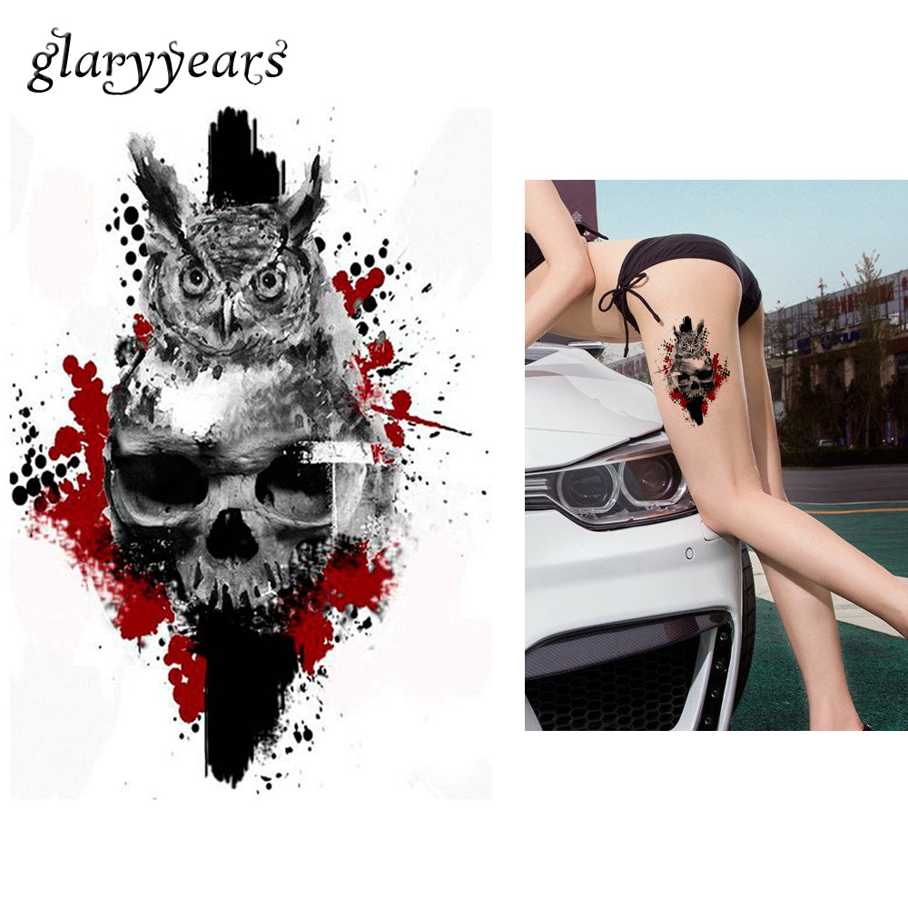 1 PC Water Transfer Fake Tattoo KM-078 Owl Skull Flower Arm Decal Waterproof Temporary Tattoo Sticker Ink for Women Men Body Art