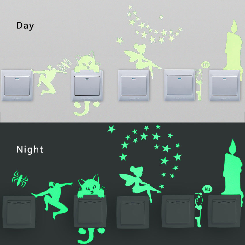 1 PCS New Luminous Cartoon DIY Switch Sticker Wall Sticker Decoration Fluorescent Living Room Children Room Home Decor
