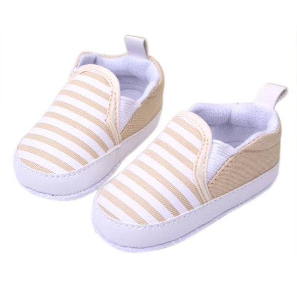 1 Pair Kids Baby Soft Bottom Walking Shoes Boy Girl Striped Anti-Slip Sneakers 3 Colors 3-12 Month