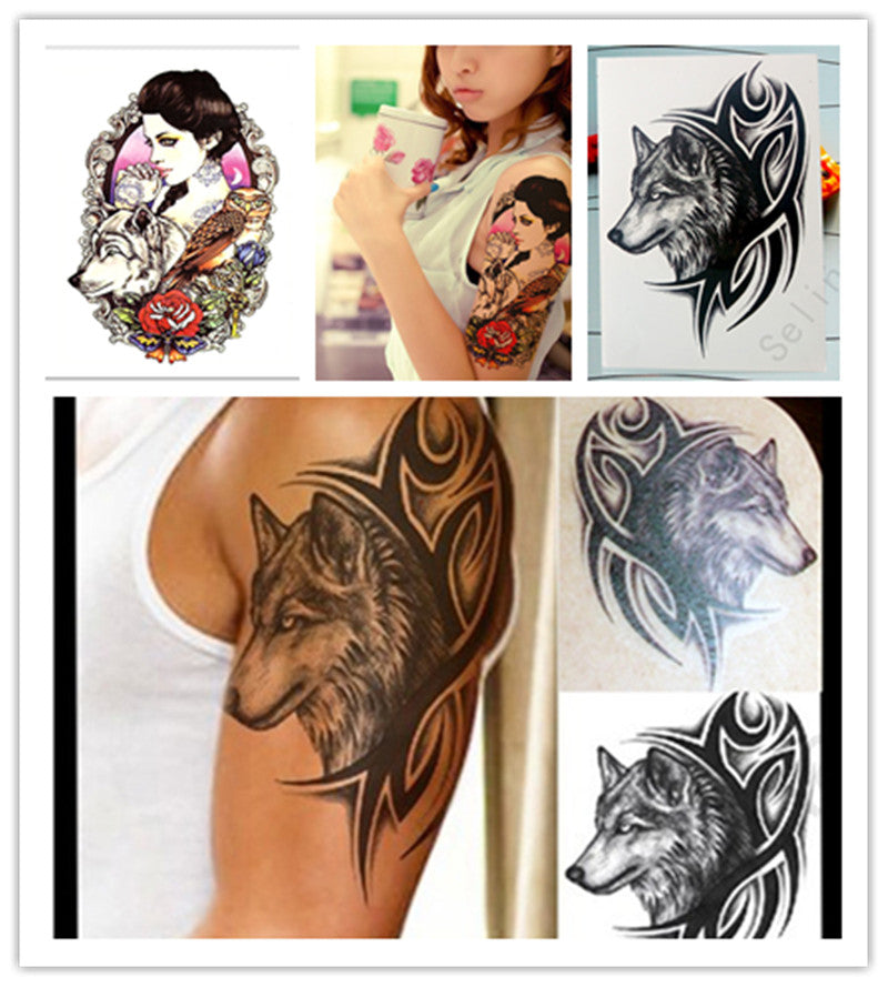 1 Pc 19x12cm Temporary Tattoo Supplies Fake Tattoos Sticker Flowers Animal Figure Designs Chest Tattoos For Men Body Art
