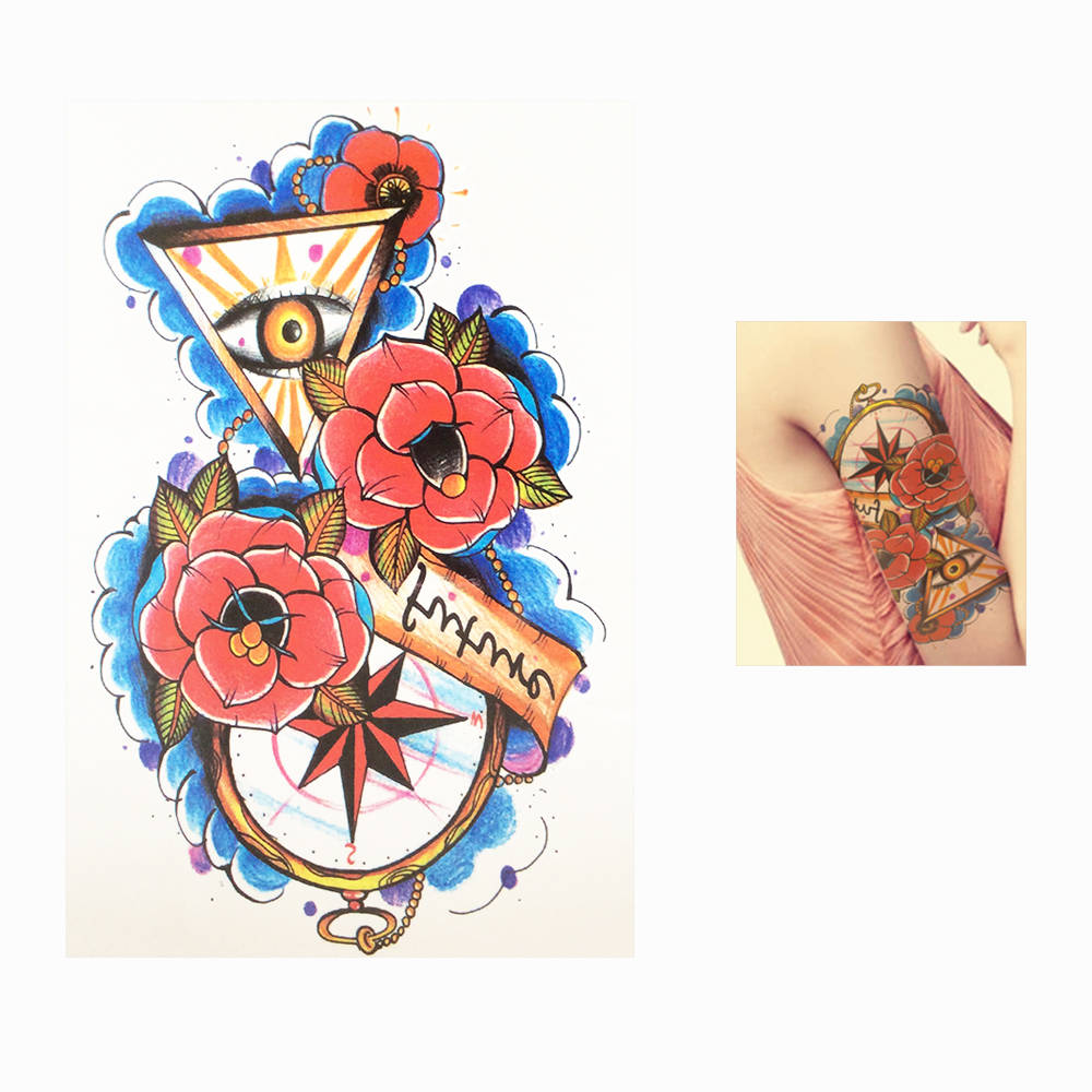 1 Piece Beauty Body Arm Art Tattoo for Women Men Paint Waterproof Decal HB509 Flower Sand Clock Styling Temporary Tattoo Sticker