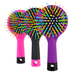 1 Piece Hot Selling Rainbow Volume Anti-static Magic Hair Curl Straight Massage Comb Brush Styling Tools With Mirror HB88