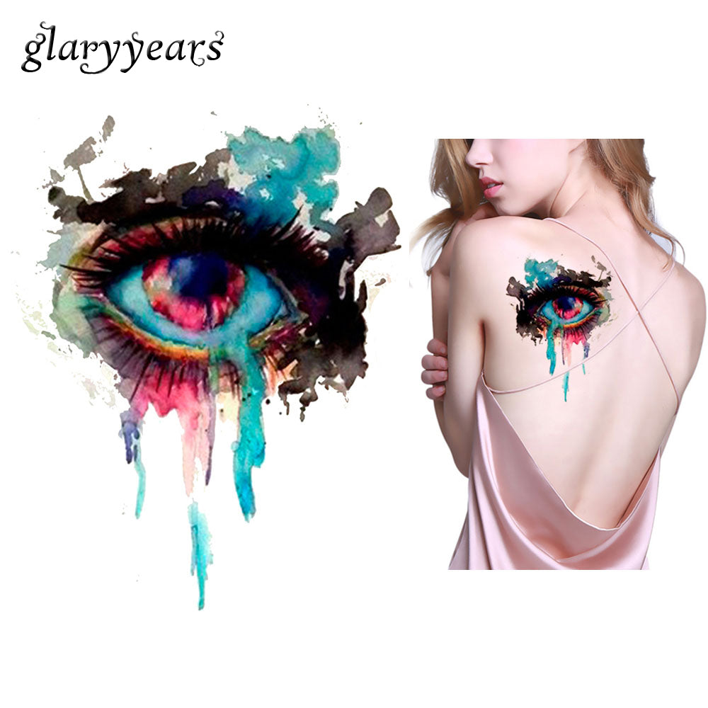 1 Piece Sexy Body Art Beauty Makeup Waterproof Tattoo KM-071 Watercolour Eye Decal Design Temporary Tattoo Sticker Colorful Draw