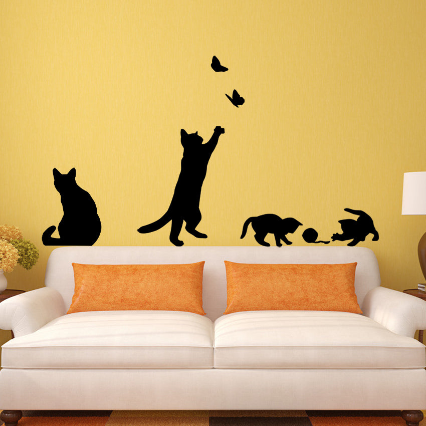 1 Set/Pack New Arrived Cat play Butterflies Wall Sticker Removable Decoration Decals for Bedroom Kitchen Living Room Walls - Cerkos.com