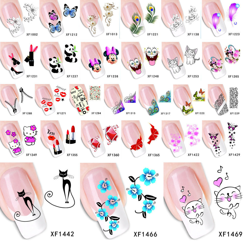 1 Sheet 2017 Top Sell Flower Bows Etc Water Transfer Sticker Nail Art Decals Nails Wraps Temporary Tattoos Watermark Nail Tools - Cerkos.com