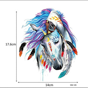 1 Sheet Beauty Decal Waterproof Tattoo Sticker Cute Colored Horse Animal Pattern Women Girl Body Art Temporary Tattoo Removable - Cerkos.com