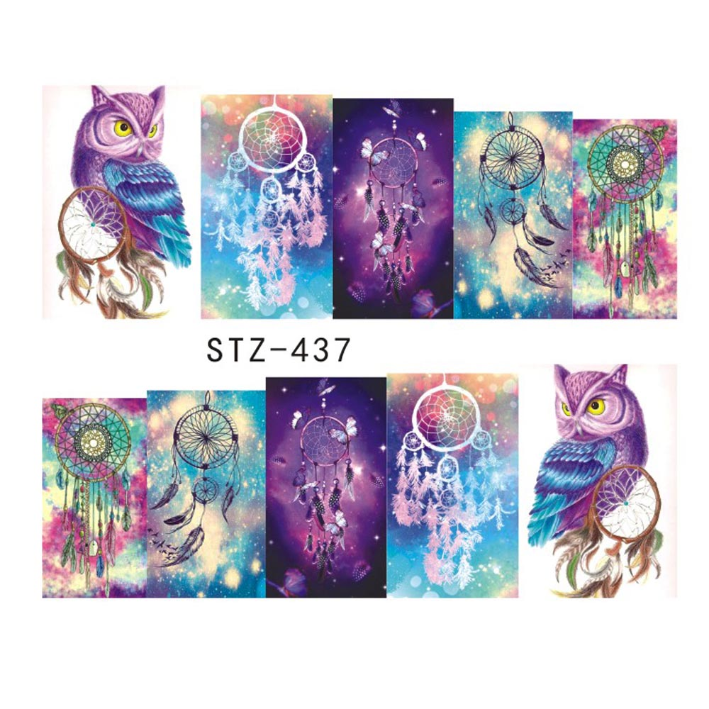1 Sheets 2017 Hot Selling Owl Bells DIY Full Stamp Nail Sticker Women Sexy Cute Watermark DIY Polish for Nail Decals STZ437/8