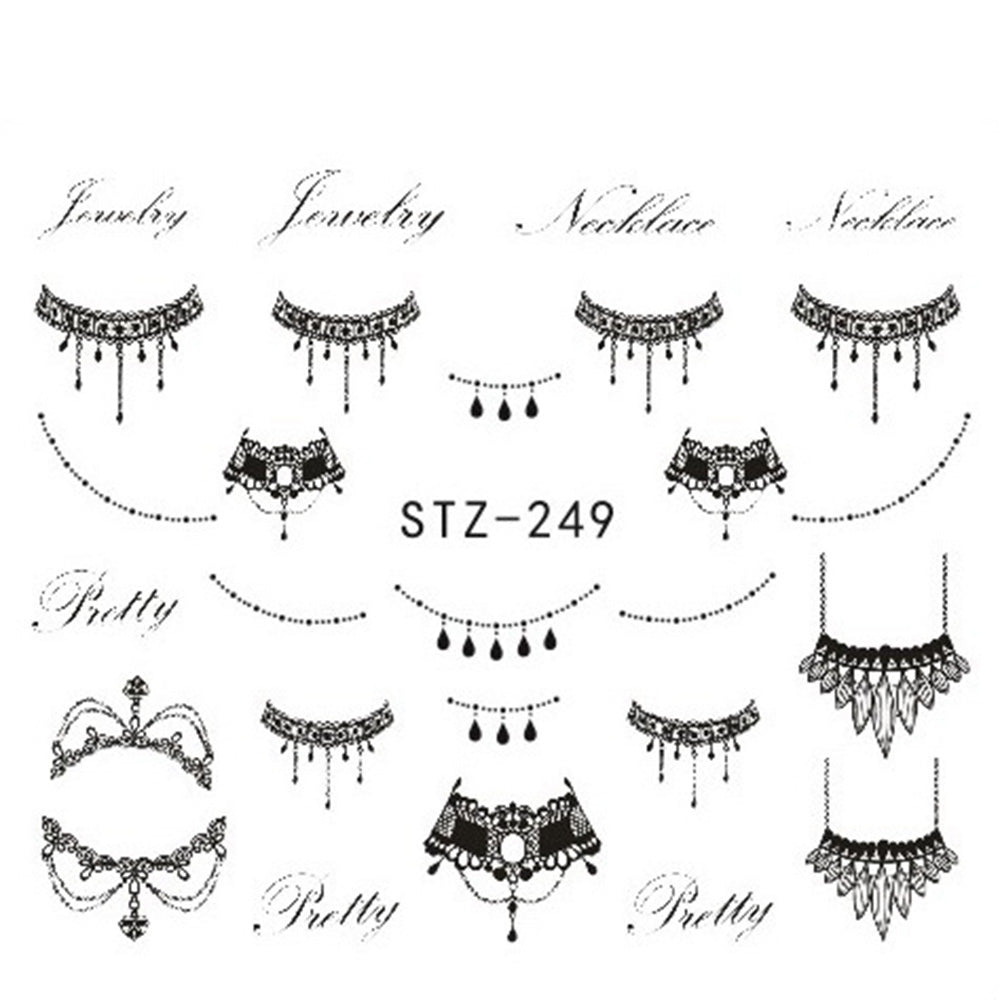 1 Sheets DIY Black Necklace Jewelry Design Fashion Water Transfer Sticker Nail Art Decals Manicure Styling Tools STZ249-251