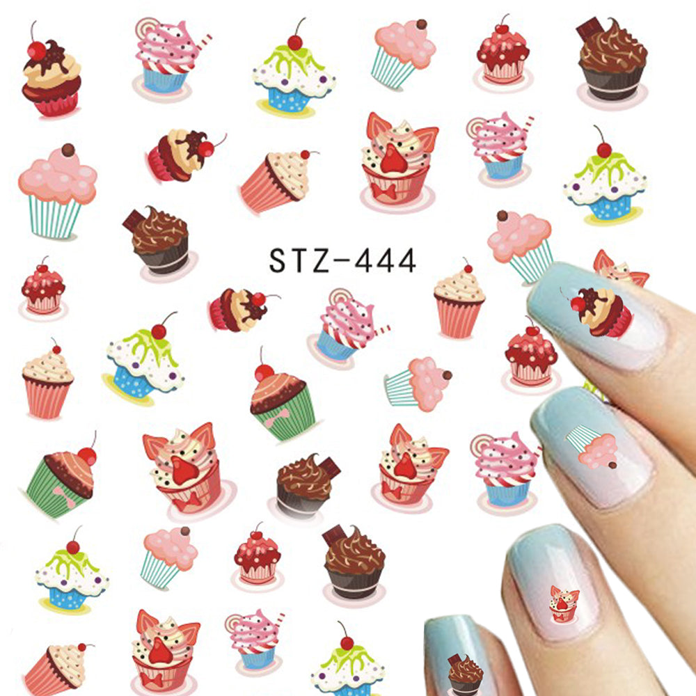 1 Sheets Nail Art Water Decals Sweets Cake Colorful Children ...
