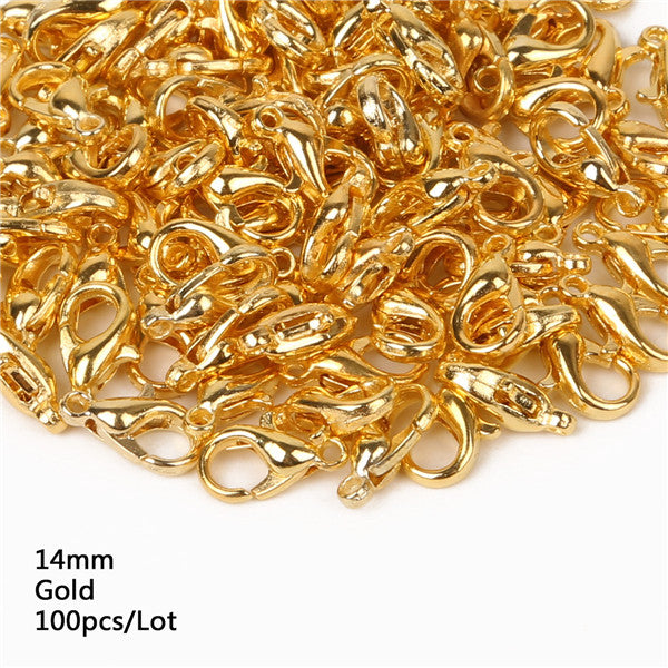 10/12/14/16mm 100pcs Lobster Clasps Hooks Gold/Rhodium For Jewelry Accessories Beads Jewelry Making Jewelry Findings Components