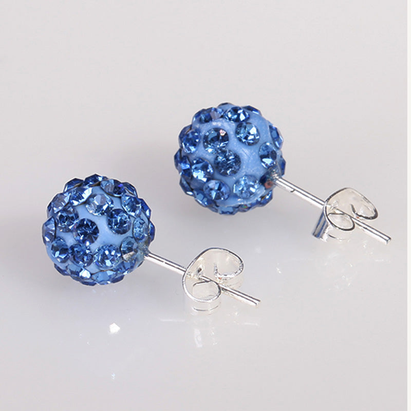 10 Color 8 MM Shamballa Earrings Micro Disco Ball Shamballa Round CZ Stud Earrings For Women Girls Fashion Jewelry Wholesale