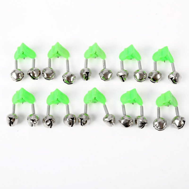 10 Pcs Fishing Bite Alarms Fishing Rod Bells Rod Clamp Tip Clip Bells Ring Green ABS Fishing Accessory