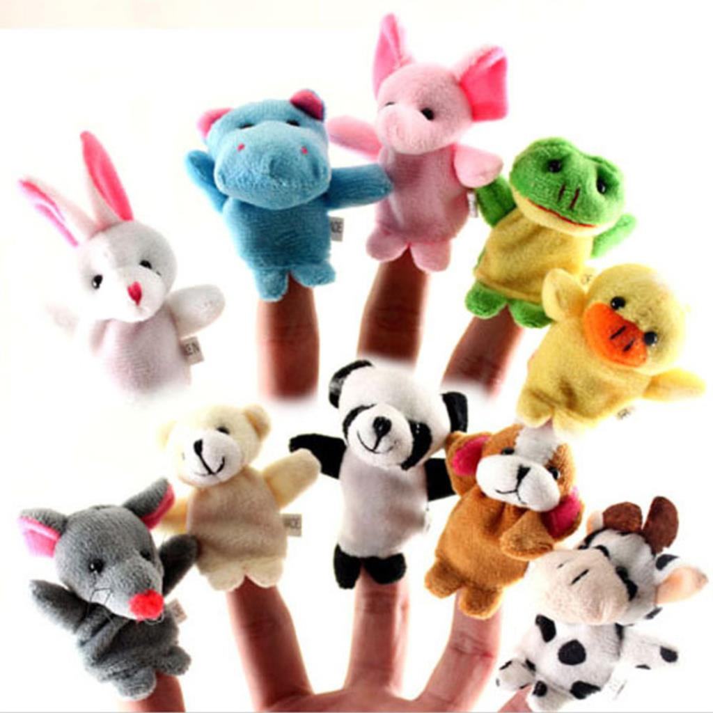 10 Pcs/lot Baby Plush Toys Cartoon Happy Family Fun Animal Finger Hand Puppet Kids Learning & Education Toys Gifts