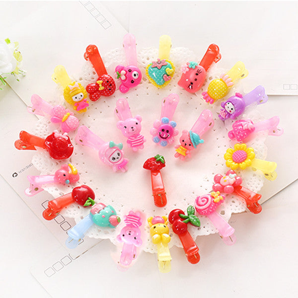 10 Pcs/lot Cartoon Beads Candy Color Hair Clips & Ropes Girls' Hair Ties Kids BB Hairpin Accessories