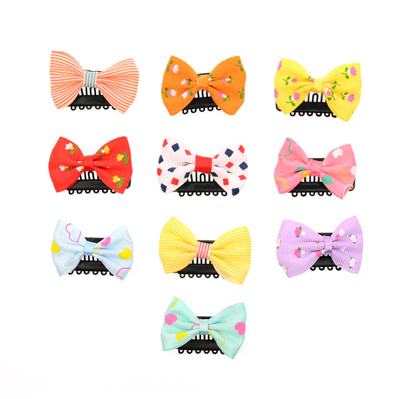 10 Pcs/lot Solid Dot Pringting Mini Small Bow Hair Clips Hair Clips Kids Hair Accessories