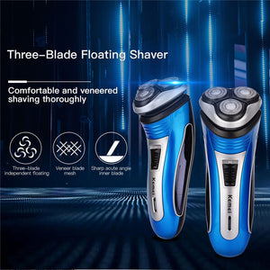100-240V Rechargeable Electric Shaver 3D Triple Floating Blade Heads Shaving Razors Face Care Men Beard Trimmer Machine47