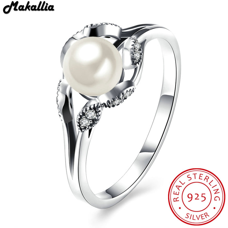 100% 925 Sterling Silver Vintage Eyes pearl Engagement Ring for Women Wedding Sterling Silver Jewelry for women free shipping