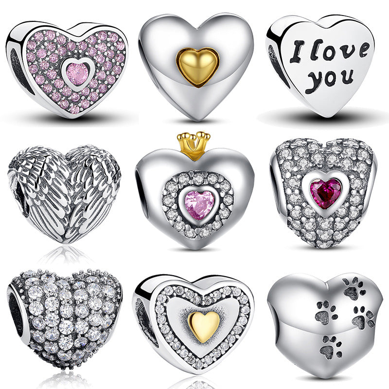 100% Authentic 925 Sterling Silver Heart Shape Charm Beads Fit pandora Charm Bracelet DIY Original Silver Jewelry
