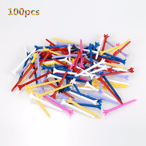 100 Pcs/Pack Golf Tees Professional Zero Friction 5 Prong 83mm Durable Plastic Golf Tees Golf Accessories