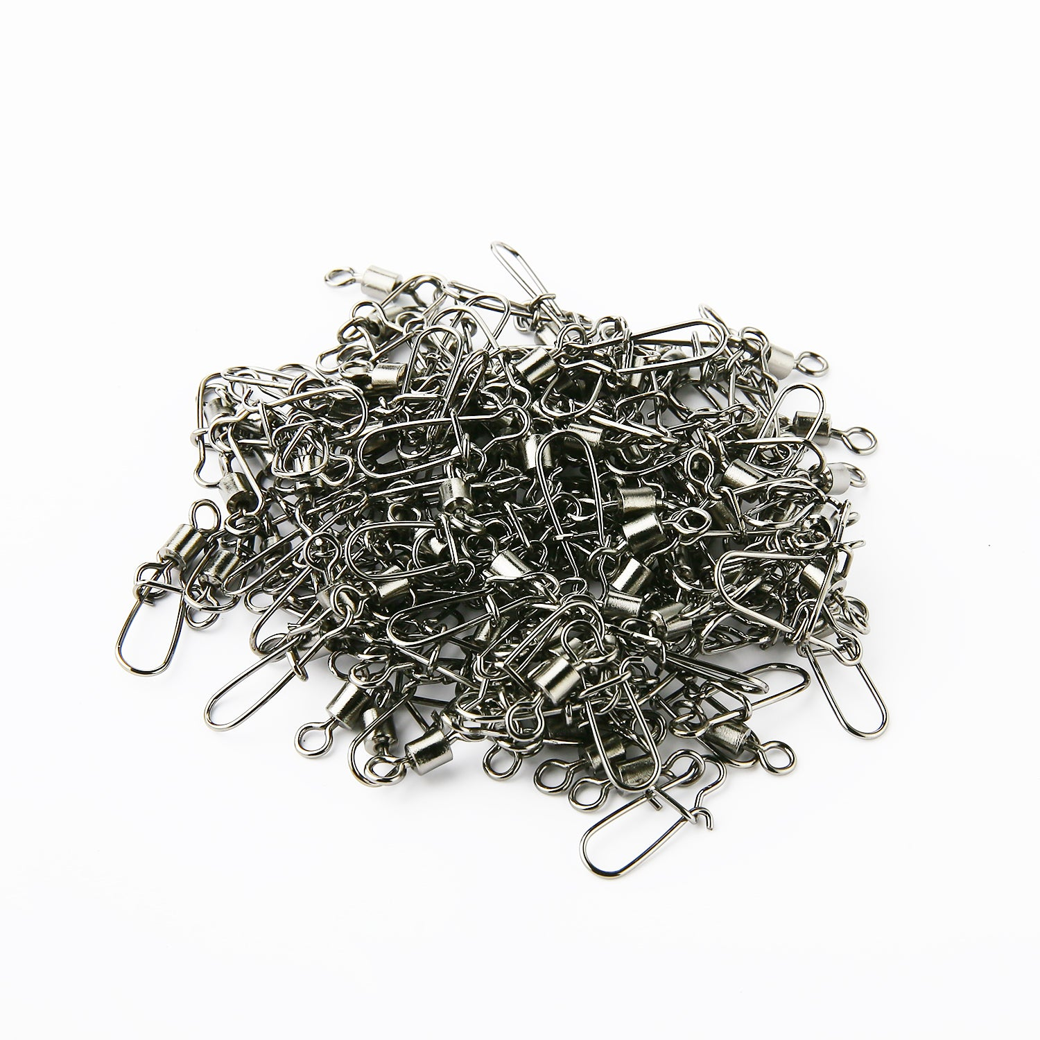 100PCS 2# 3# 4# 6# 8# 10# Fishing Connector Pin Bearing Rolling Swivel Stainless Steel with Snap Fishhook Lure Tackle Accessorie