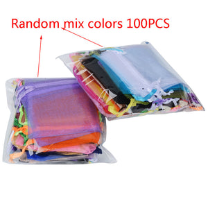 100pcs 24 Colors Jewelry Bag 7x9 9X12 10x15 13x18cm Wedding Gift Organza bag Jewelry Packaging Display & Jewelry Pouches