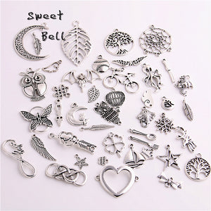 100pcs/lot Mixed Antique silver Color European Bracelets Charm Pendants Fashion Jewelry Making Findings DIY Charms Handmade 715