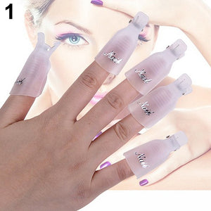10Pcs 7 color Plastic Acrylic Nail Art Soak Off Clip Cap UV Gel Nail Polish Remover - Cerkos.com