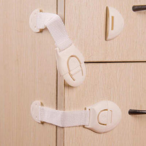 10Pcs/Lot Drawer Door Cabinet Cupboard Toilet Safety Locks Baby Kids Safety Care Plastic Locks Straps Infant Toddler Protection