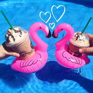 10Pcs hot Mini Cute fanny toys Red Flamingo Floating Inflatable Drink Can Holder Swimming Pool Accessories Beach Kids Bath Toy