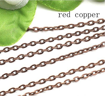 10m/lot Rhodium/Silver/Gold/Gunmetal/Antique Bronze Color Necklace Chains Brass Bulk for DIY Jewelry Making Materials F712 - Cerkos.com