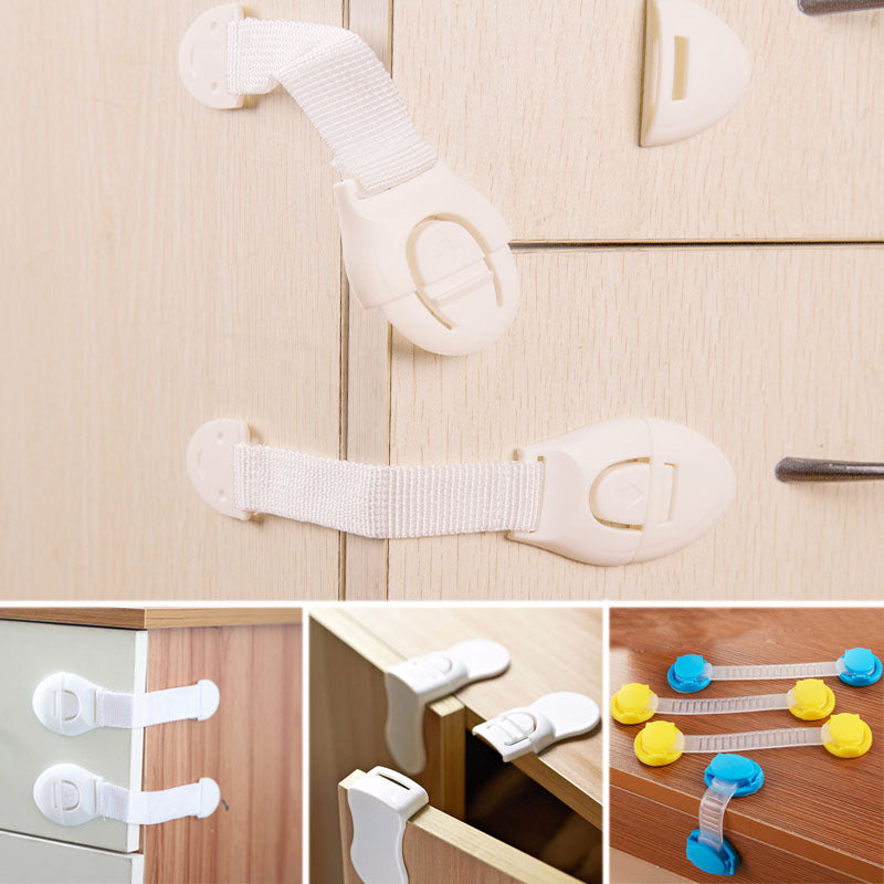 10pcs Baby Safety Lock Drawer Cabinet Cupboard Toilet Safty Locks Child Kids Safety Care 4 Style Straps Locks Infant Protection