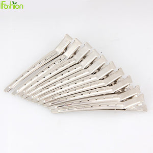 10pcs Pro Salon Hairdressing Tools Duck Mouth Hairdresser Hair Clip Clips Hair Stainless Steel Hairdressing Sectioning Clamp