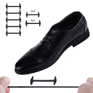 10pcs/Set 4cm or 3cm No Tie Shoelaces New Novelty Elastic Silicone Leather Shoe Laces For Men Women All Fit Strap Business Shoes