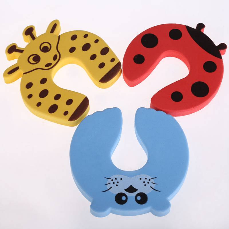 10pcs/Set Children Safety Cartoon Door Clamp Pinch Hand Security Stopper Cute Animal Baby Safety Door Stopper Clip Security