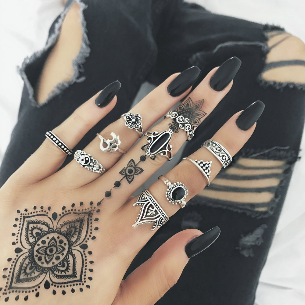 10pcs/Set Fashion Boho Yoga Yinyang Metal Finger Knuckle Rings Black Rhinestone Crystal Rings Set Jewelry