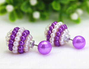 11 Colors jewelry Double Side Imitation pearl fashion earring Trendy Cute Charm Pearl Statement Ball Stud earrings for women