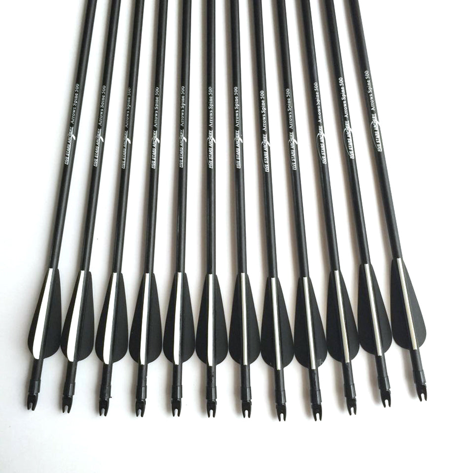 12Pcs 80cm Spine 500 Fiberglass Arrow Archery With Nock Proof / Changeable Arrowhead For 30-80lbs Compound / Recurve Bow Hunting