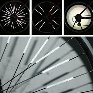 12Pcs Bicycle Mountain Bike Riding Wheel Rim Spoke Mount Clip Tube Warning Light Strip Reflector Reflective Outdoor 75mm