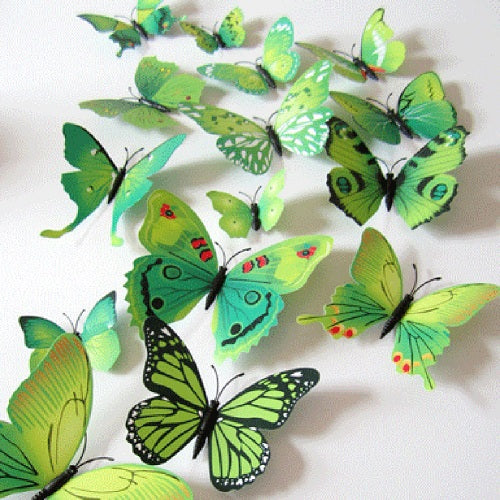 12Pcs/lot 3D PVC Butterflies Wall Stickers Decoration Magnet Butterflies on the wall DIY Wallpaper for Kids Room Home Decoration