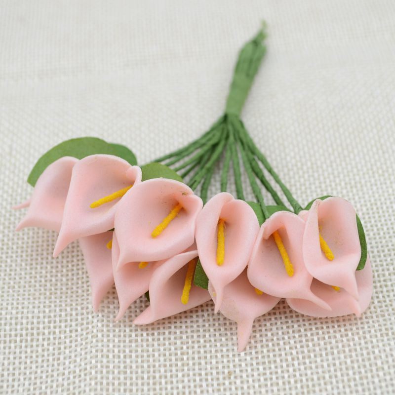 12pcs Mini Foam Calla Handmake Artificial Flower Bouquet Wedding Decoration DIY Wreath Gift Box Scrapbooking Craft Fake Flower