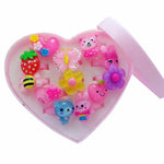 12pcs Mix Lot Cute Rings Animals Flower Heart Assorted Baby Kids Girl Children's Cartoon Rings With Display Box