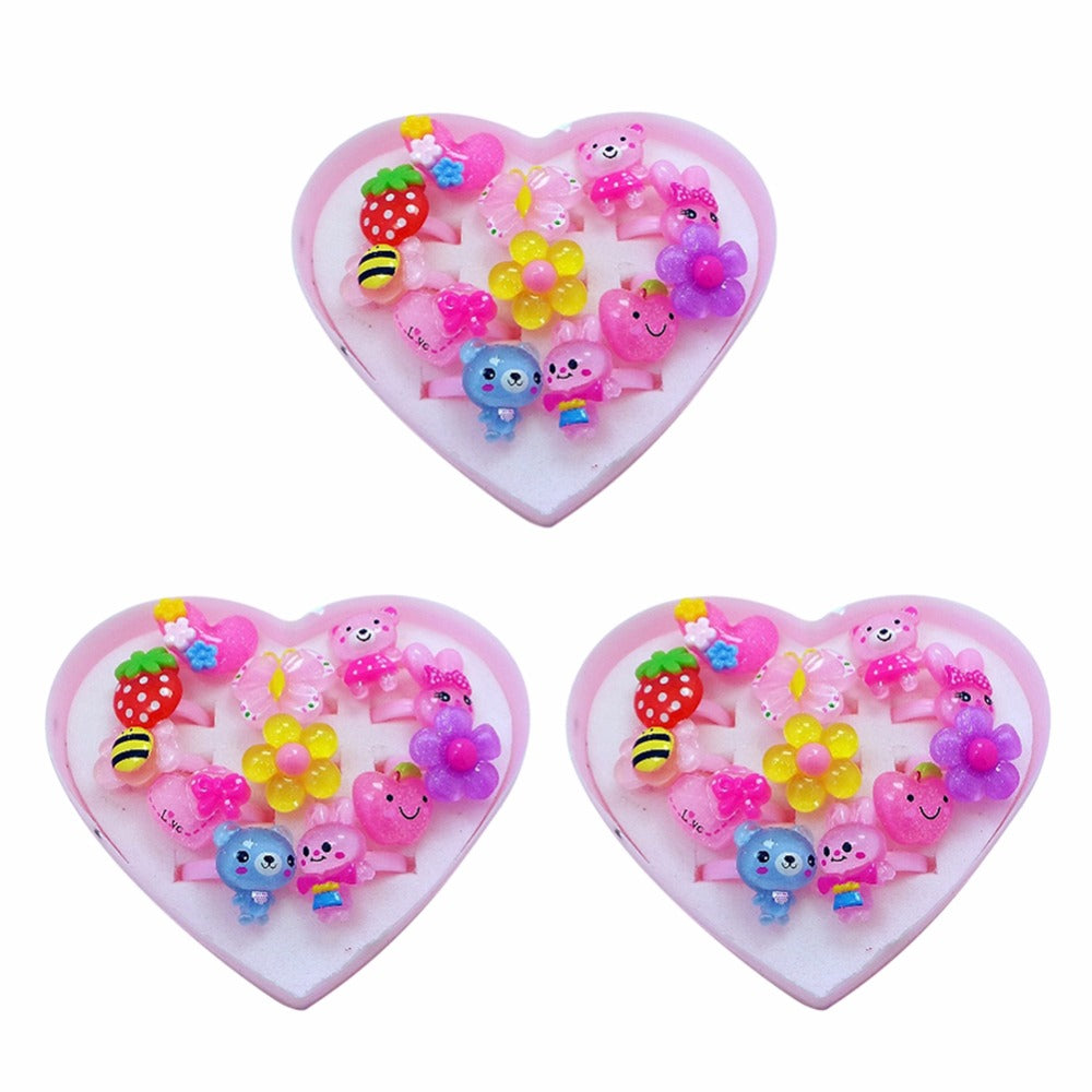 12pcs Mix Lot Cute Rings Animals Flower Heart Assorted Baby Kids ...